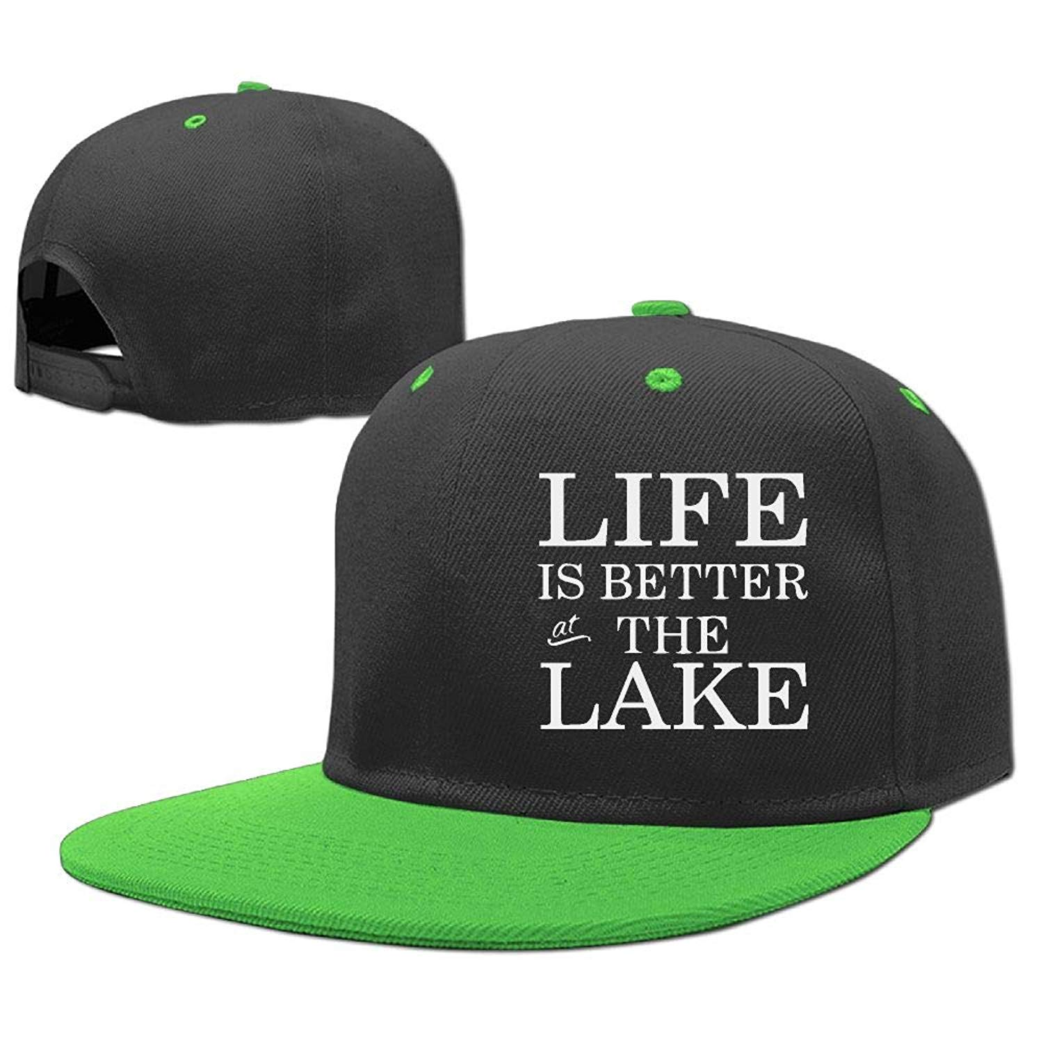 8186fd5efd7 Get Quotations · Unisex Kids Classic Hip Hop Baseball Cap Life is Better On  The Lake Cotton Sports Hat