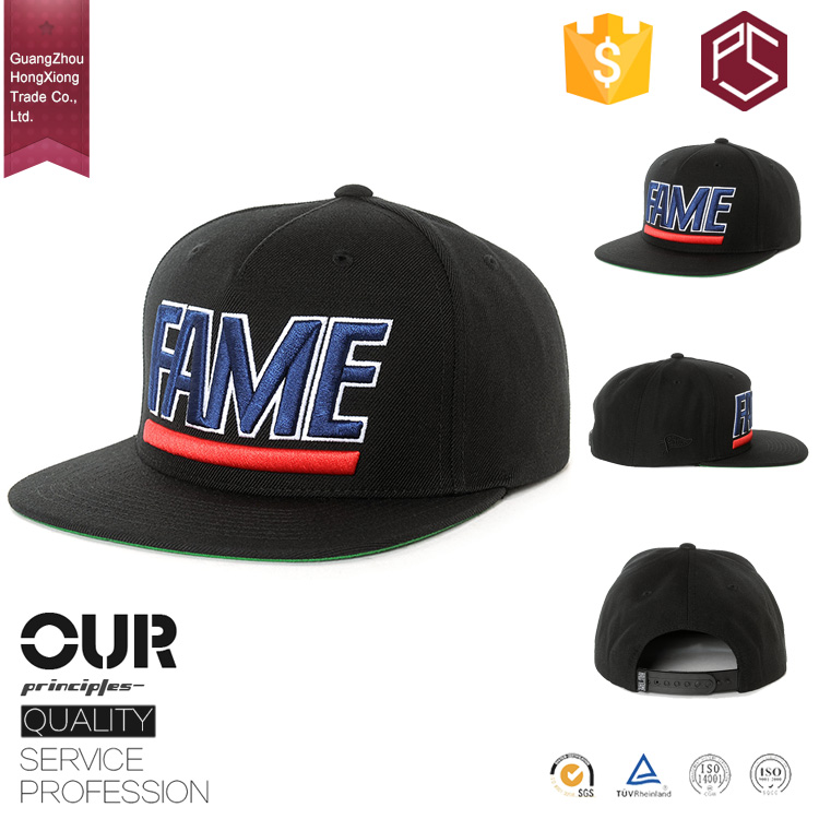 GuangZhou HongXiong fashion cool men's plastic closure 3d character embroidered 100%acrylic letters for snapback hat