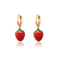 95366 xuping high quality charming strawberry drop earring gorgeous gold accessories for girls