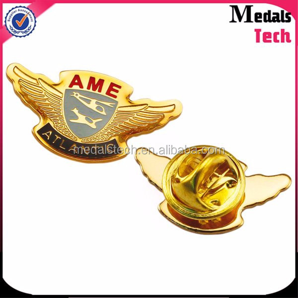 Customized popular style badge Metal soft enamel souvenir lapel pin with safety pin