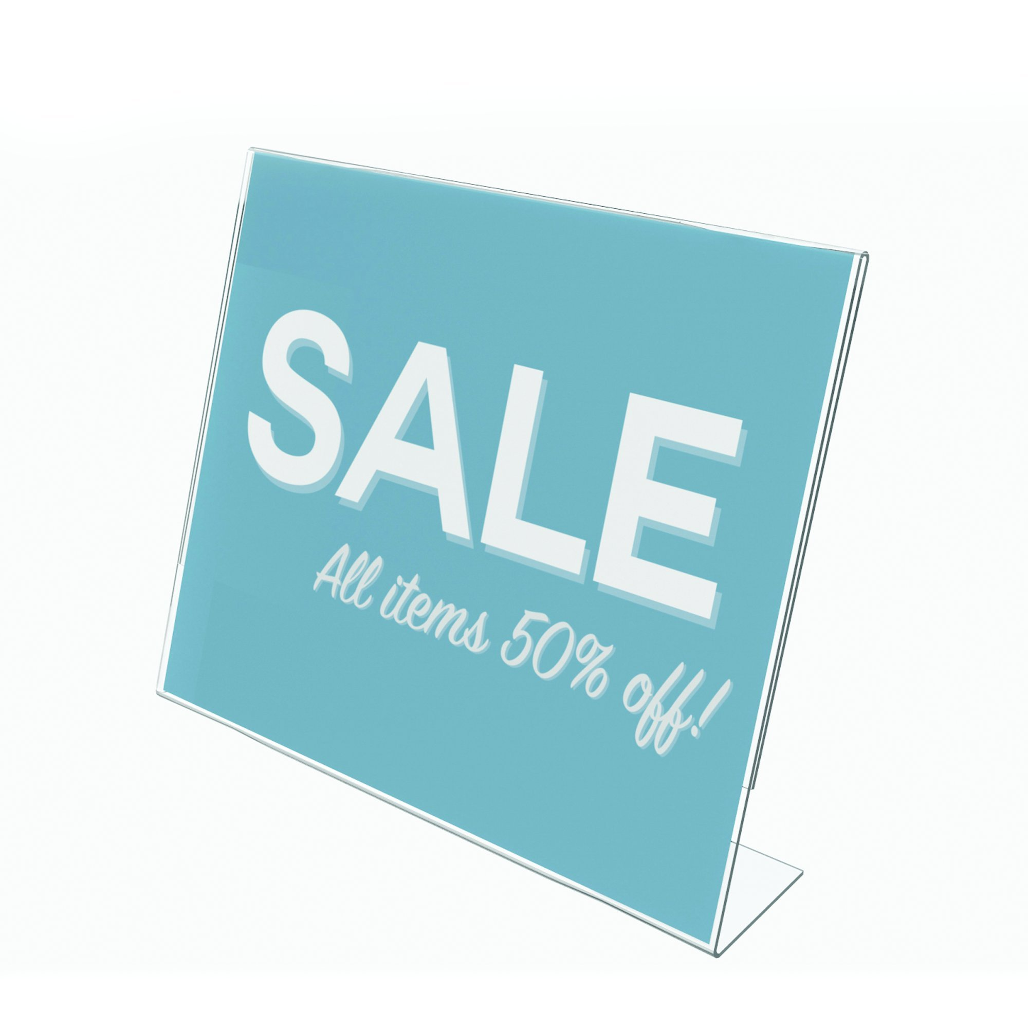 """Deflecto Classic Image Slanted Sign Holder, Tabletop and Desk, Single-Sided, Horizontal, 11"""" x 8.5"""", Clear (66701)"""