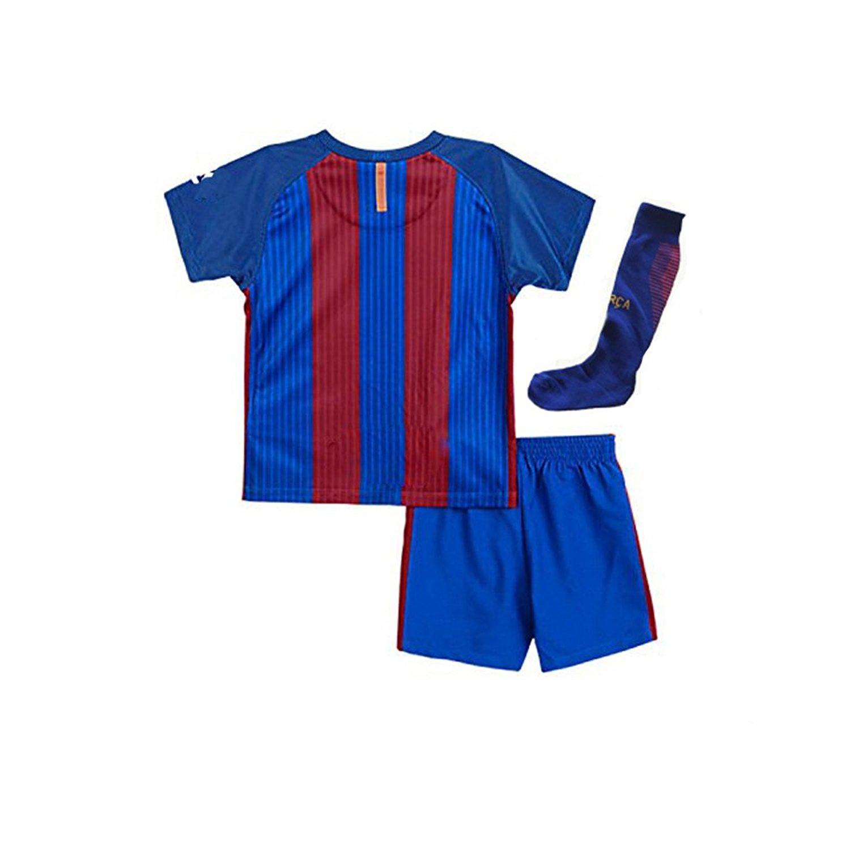 0705cc87d72 Get Quotations · Barce Messi No.10 Youth Home Kit Shirt+Short+Socks Kids  Soccer Jersey