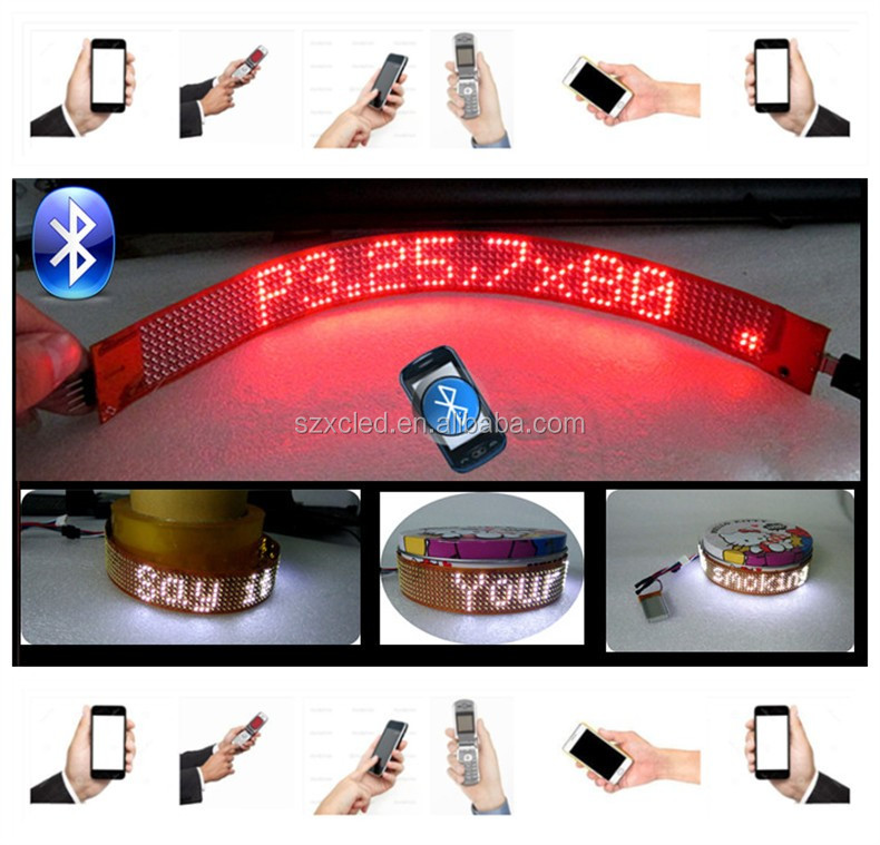 New! P3.25-7x80 Flexible LED board with Bluetooth smart phone app programable soft LED moving message display sign board panel