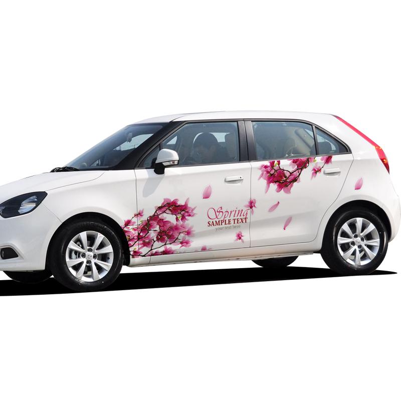 2016 newest design 2pcs chinese style red sakura flower car body sticker decoration universal for women