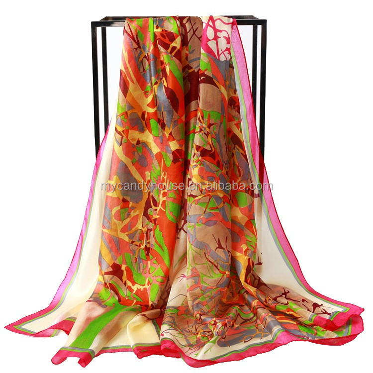 fashionable design long natural silk scarf