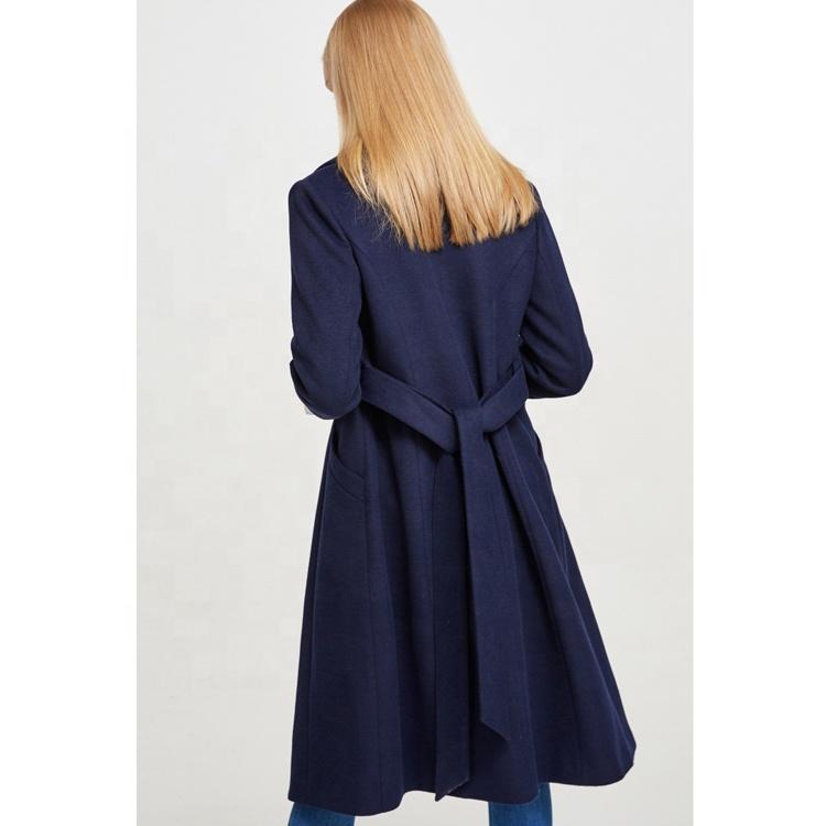 2019 winter new women's Lapel tie long wool coat