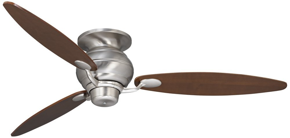 "60"" Spyder Brushed Steel Walnut Hugger Ceiling Fan"
