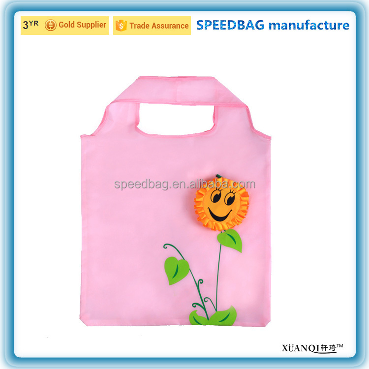 Sunflower environment-friendly 190T polyester foldable tote shopping bag