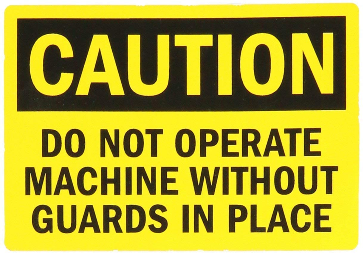 "SmartSign Adhesive Vinyl Label, Legend""Caution: Do Not Operate Machine Without Guards"", 3.5"" high x 5"" wide, Black on Yellow"