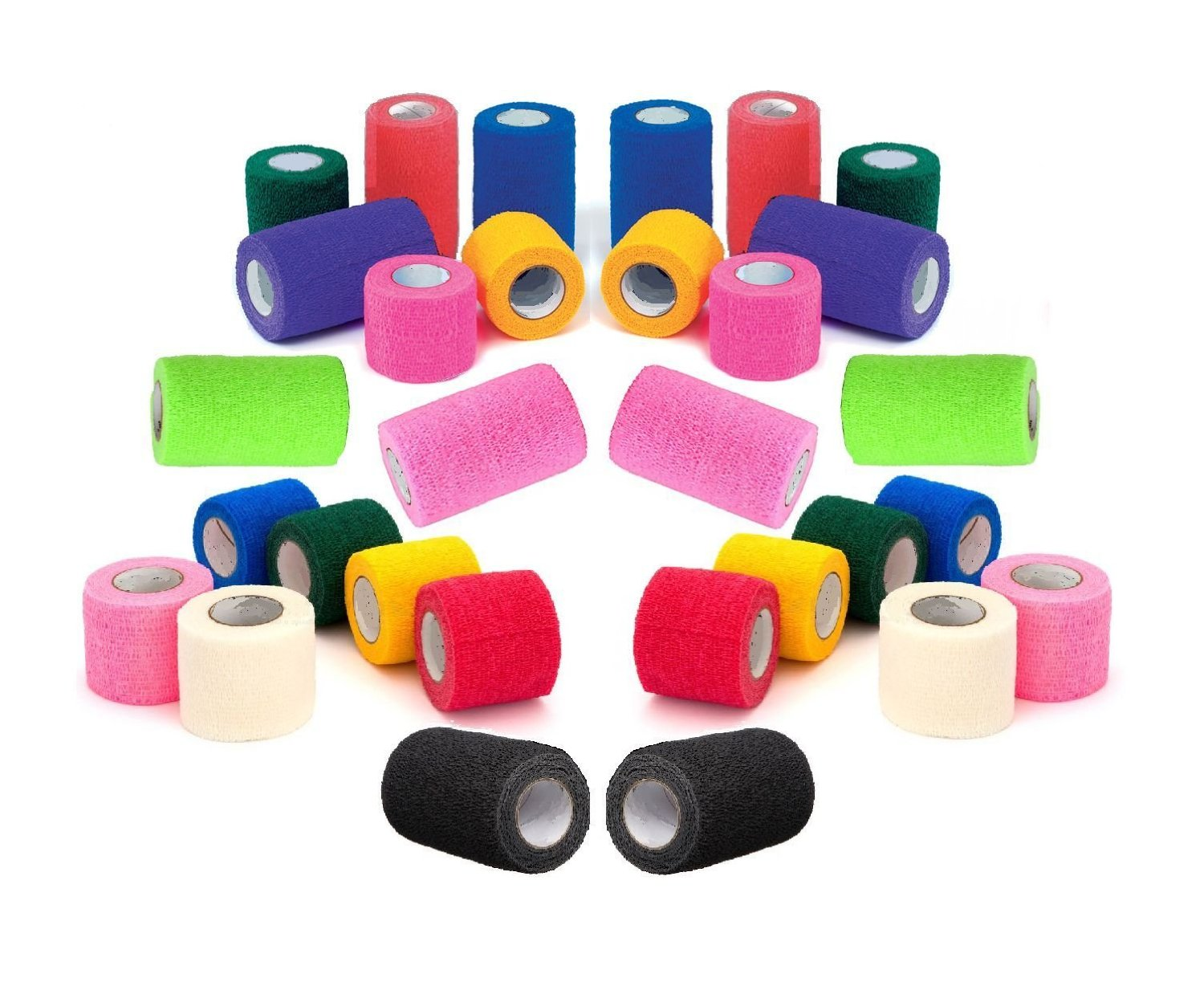 """2"""" Vet Tape Wrap Bulk, Self Adherent Wrap Tape, Self Adhering Stick Bandage, Self Grip Roll - Black, Blue, Brown, Fuchsia, Hunter Green, Neon Green, Neon Pink, Purple, Red, Teal, White, or Assorted Colors (2"""" inches Wide x 15' Feet Long) - (6 Rolls, 12 Rolls, 18 Rolls, or 24 Rolls)"""