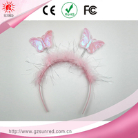 Pink Spring Butterfly Bow with Teeth Headband For Cut Kids Hair Accessories