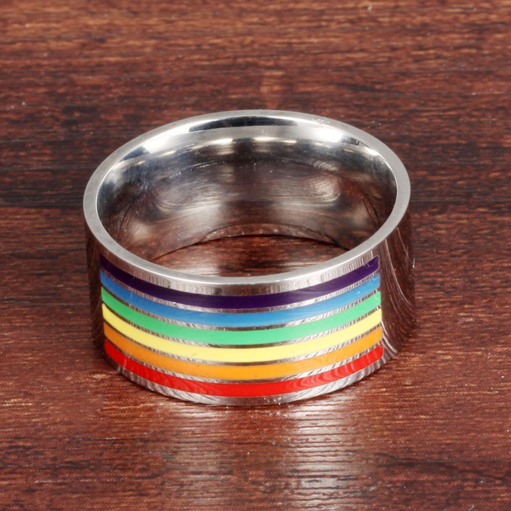 Latest Rainbow Design Stainless Steel Band Lesbian Gay Promise Rings