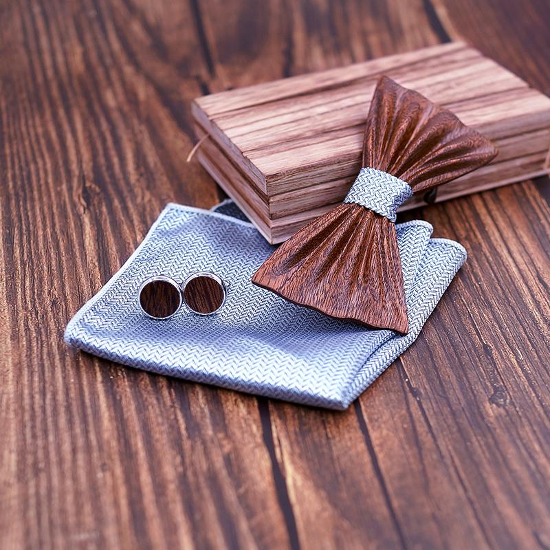 NEW 2019 Handmade wooden Bow Tie Set Fashion Wood bow tie wedding dinner accessories corbata Gravata set