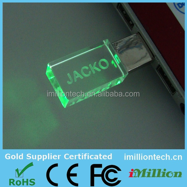 Free customized logo crystal glass usb flash drive,special gift