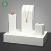 Custom Luxury Acrylic White Necklace Ring Jewellery Display Stand Set