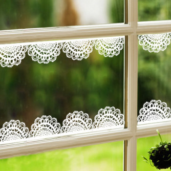 Diy adhesive lace border sticer and pvc lace window sticker