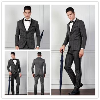 New Designed Men S Grey Striped Tuxedo Wedding Dress Tailored