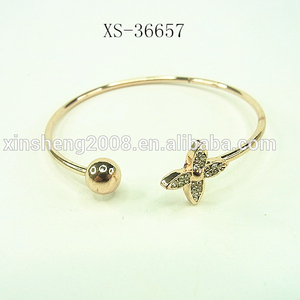 Wholesale Gold Plated Sex Gemstone Palm Cuff Vintage Open Girls Solid Women Bangle