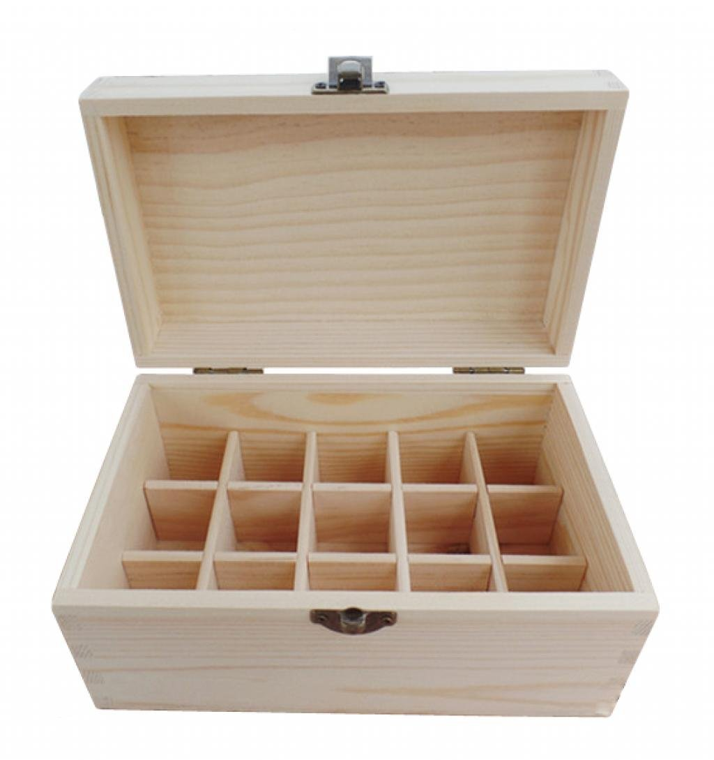 LOUISE MAELYS Natural Wooden 15 Holes Essential Oils Carrying Case Organizer Box for Travel fit 15ml Bottles (Case Only)