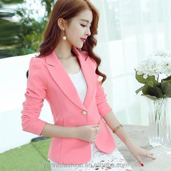 6bdead74321b 2018 Осень женщин с длинным рукавом Тонкий Блейзер розовый синий черный  Mujer офисные костюмы