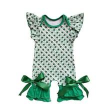 День Святого Патрика, фиолетовая, зеленая и Золотая Одежда для младенцев с принтом на заказ, Шелковый молочный комбинезон, праздничный Детс...(Китай)