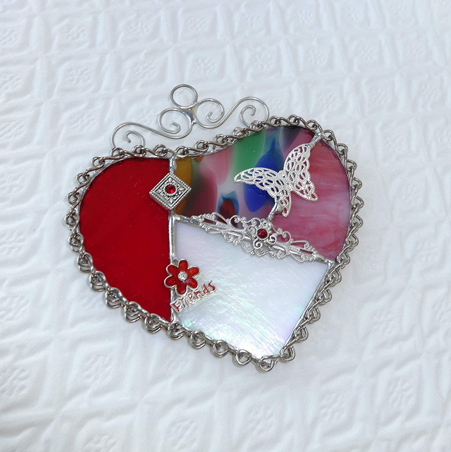 Pink and Red Stained Glass Valentine Heart Suncatcher Friends
