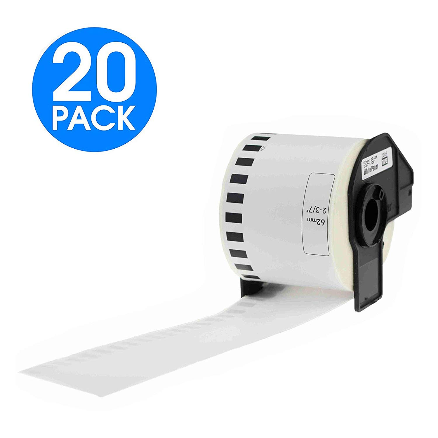 KCYMTONER 20 Rolls DK-2205 Continuous Length Paper Labels,2.4 (2-3/7) Inches (62mm) by 100 ft,Compatible with Brother P-Touch QL-Series Printers QL-500 QL-720NW QL-1060N,Includes (20) Snap-On-Frame