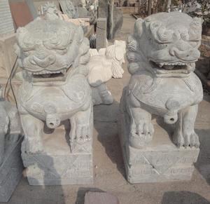 Garden decor natural stone carving white marble foo dog statues sale