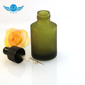 15ml 30ml 60ml slant flat shoulder glass bottle frosted dark green glass dropper bottle serum bottle