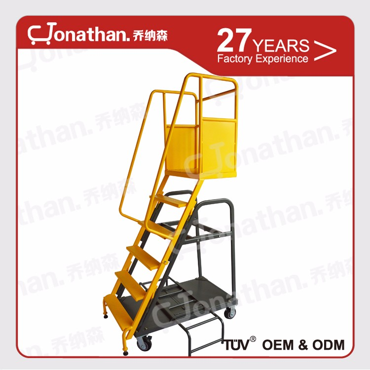 Supermarket platform metal steel rolling ladder for hot sales