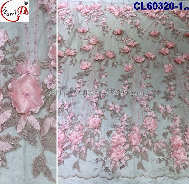 Shopping Dress lace cl60320 pretty 3d lace Hot Sale Australia style baby pink three dimensional lace for new clothes