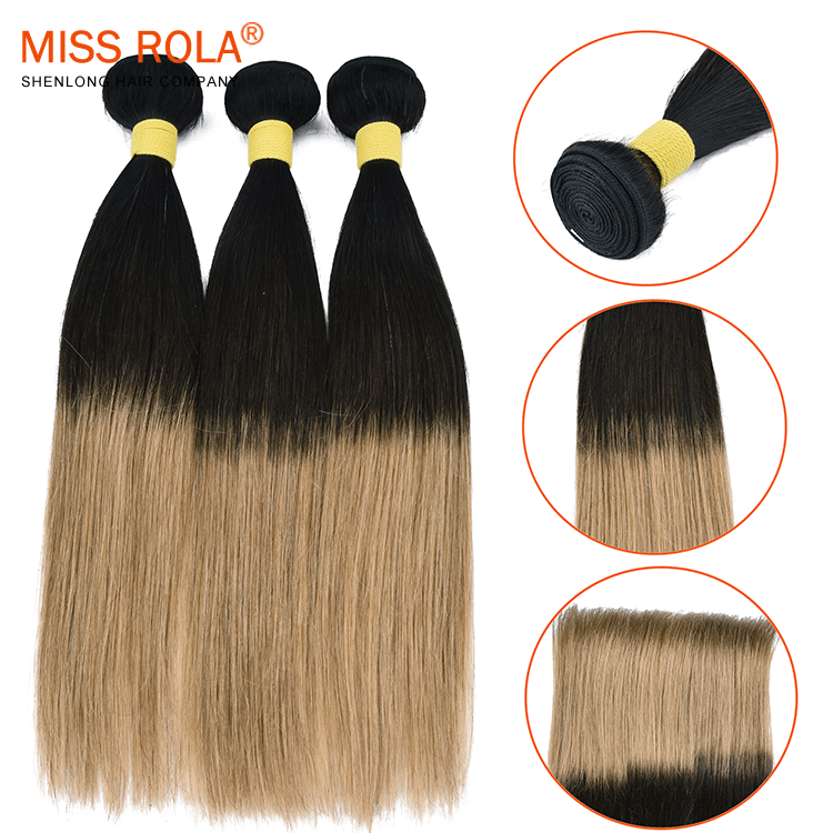 Fashionable ombre color two tone 1b/4 27 straight hair extension, Brazilian human hair bundles