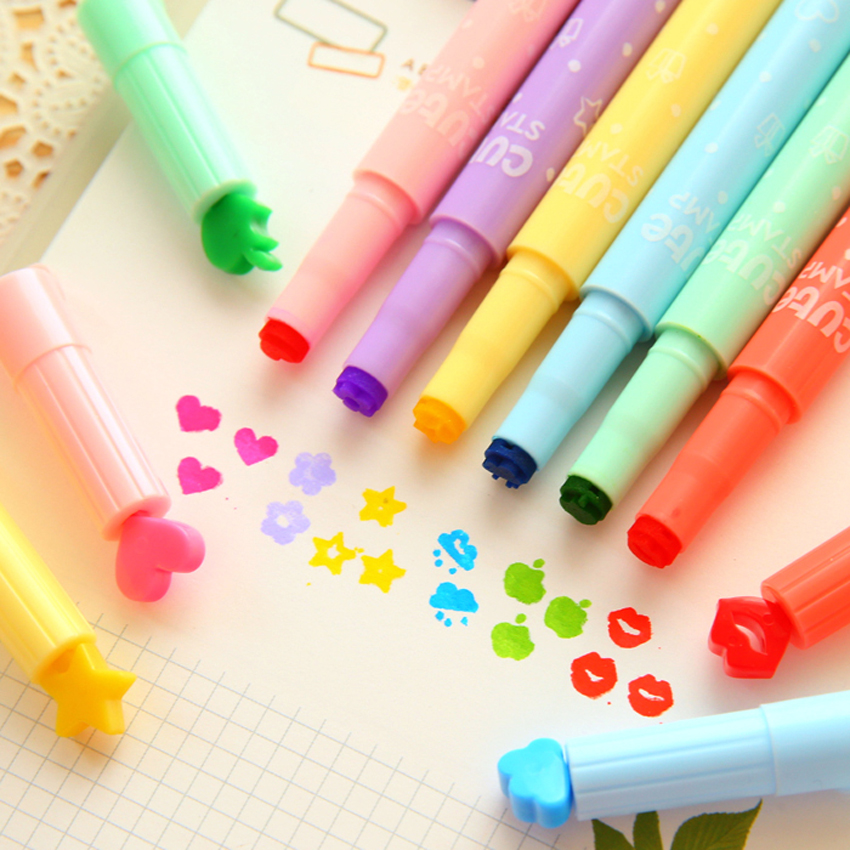 Adorable stationery pen set wholesale multi color marker fluorescent pen fancy highlighter marker highlighter set