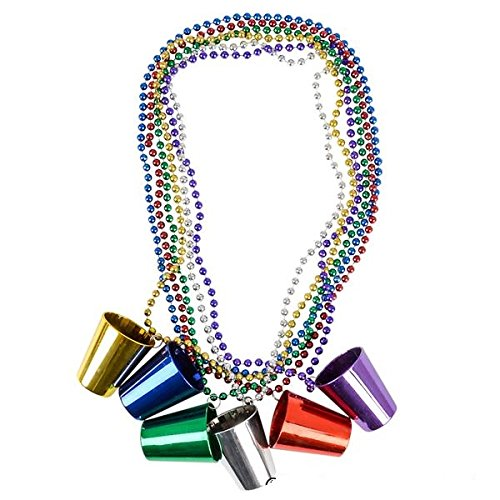 Party Beads Necklaces With Super Sized Charms 1 Dozen Bulk Pack, Includes 12 Necklaces With Shot Glass Charms, Assorted Colors - Parade Beads - Party Favors - Bulk Toys - Dress Up Play