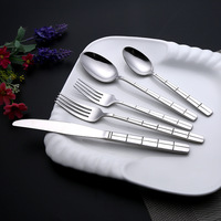 Hot selling high-grade 5 pieces stainless steel dinnerware sets hotel supplies cutlery knife spoon and fork
