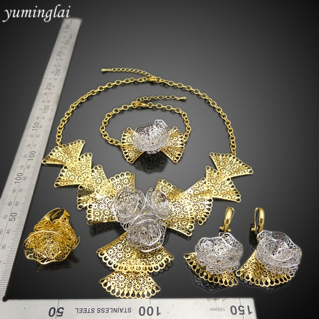 hot sale big fashion party flauar jewelries set 22k gold plated Romantic flower jewellery sets women jewelry set