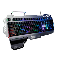 Customized OEM Professional Metal panel 104 Keys Wired RGB Backlight Semi Mechanical Gaming Keyboard for DOTA
