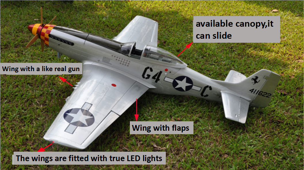 Upgraded P-51 Mustang 20CC RC Flugzeugmodell