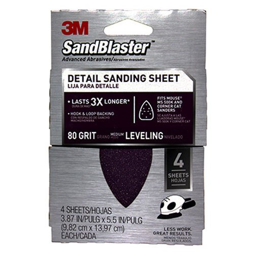 3M 9671 80-Grit Mouse Sandpaper Sheets, 4-Pack