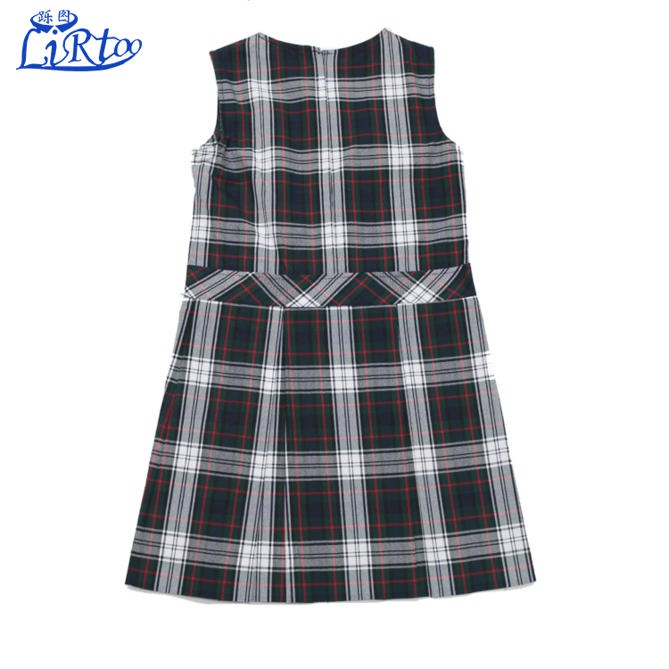Uniforme scolaire en gros fille col haut plissé plaid pull design jupe ensemble robes
