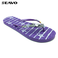 SEAVO SS17 latest summer beach wedding favors design print PE striated bowknot fastener purple flip flops