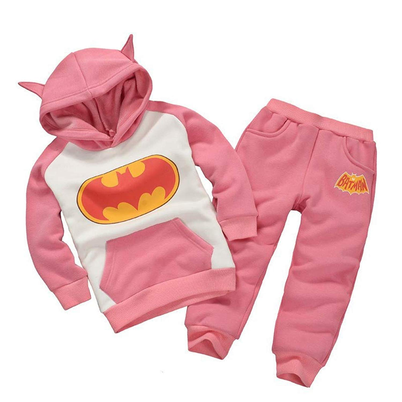 2PCS Kids Baby Boys/Girls Batman Hooded Coat + Pants Set Clothes Outfits