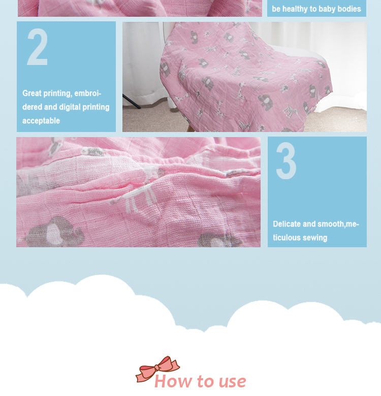 "47"" x 47"" Organic cotton baby muslin swaddle blanket for newborn baby wholesale"