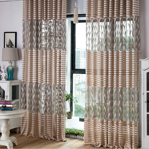 250cm*100cm Fashion Feather Pattern Door Window Tulle Voile Curtain Home Decoration Curtain Scarf Valances for Living Room E#CH
