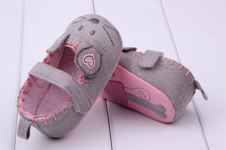 תינוק חמוד בנות הראשונה מהלכים כותנה אפור עכבר מצויר רך עם דפוס הצללה רכה הבלעדי התינוק Toldder Prewalkers הנעל 3 גודל