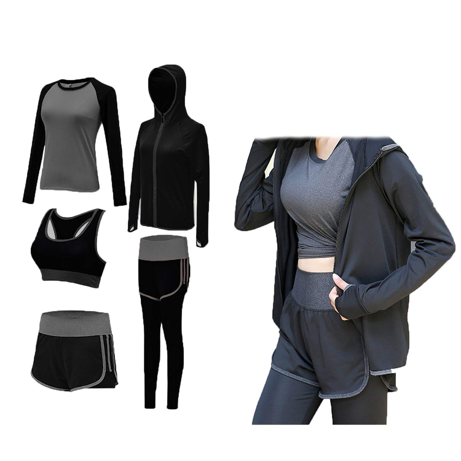 c00f283709d99 Get Quotations · Sports Suit Female Spring and Summer 2018 New Professional  Running Clothes Large Size Loose Gym Quick