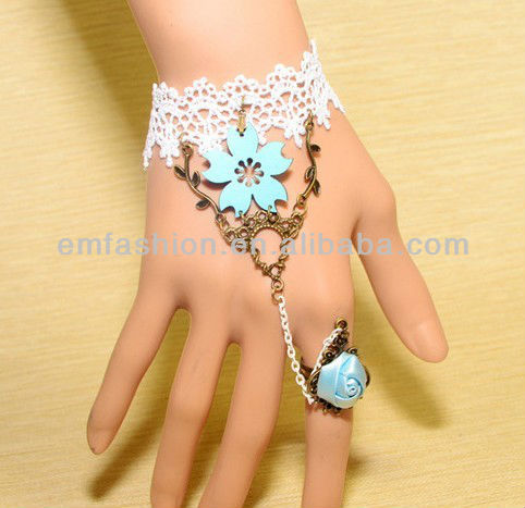 Fashion Lady Gothic Blue Rose White Lace Bracelet With Ring