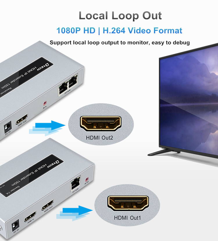1080p HD lossless audio and video transmission 150m wireless 4k fiber optic HDMI extender, support ir return