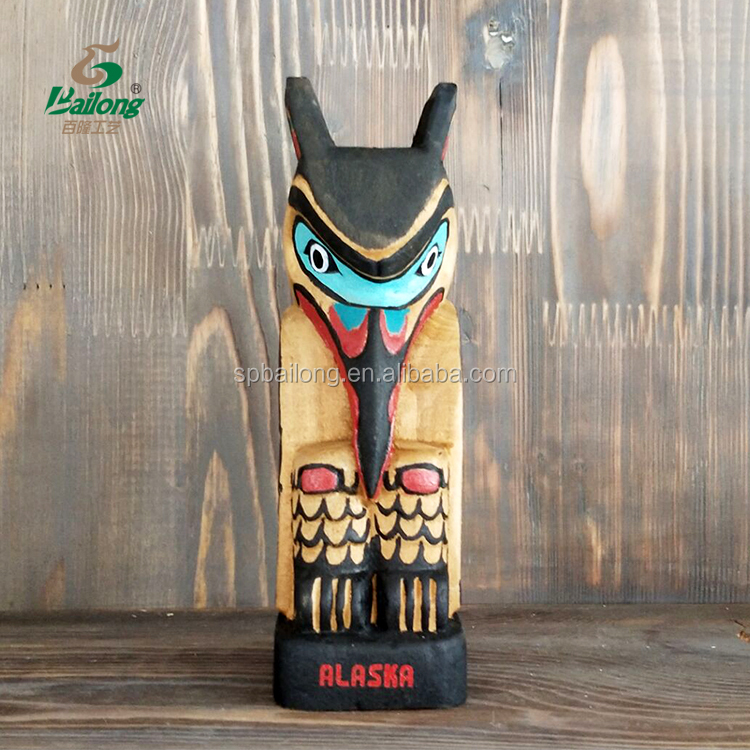 Hand made wooden craft Indian totem pole