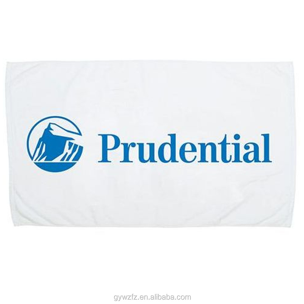 Logo Imprinted White Small Beach Towels Sports Theme